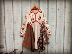 Robe pull Homespun. méd. / / robe brodé Plaid hiver par emmevielle