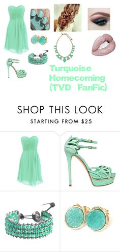 """""""Turquoise Homecoming- For Quotev TVD Fan Fiction"""" by twd-fangirl29 ❤ liked on Polyvore featuring beauty, Le Silla, First People First, Kate Spade, amazing, Blue, GREEN, turquoise and Homecoming"""