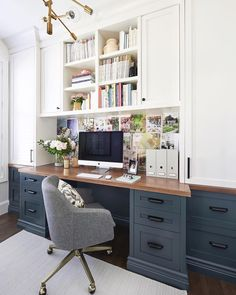 Home office. White cabinetry.