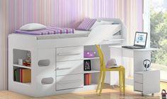 Quarto Juvenil Completo Teen L.O.L com Cama Multiuso com gavetas e escrivaninha e Guarda-roupa Branco - Santos Andirá | Lojas KD