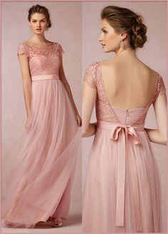 Chic Tulle Lace Bateau Neckline Full Length A Line Bridesmaid Dress