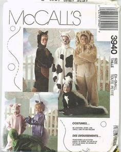 Uncut Vintage Sewing Pattern, McCalls 3940, Little Boy Girl Costume, Pig, Skunk, Cow, Lion, Turtle, Unicorn, Racoon, Child size 2, 4, Kids on Etsy, $4.00