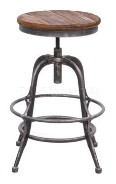 Perfect pulled up to your kitchen island or game table, this industrial-chic barstool showcases a reclaimed pine wood seat and iron base. Product: BarstoolConstruction Material: Reclaimed pine and ironColor: NaturalDimensions: H x Diameter