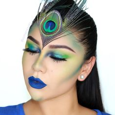 Halloween makeup using the new Full Spectrum Palette by Urban Decay. Peacock inspired makeup.