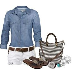 Brown sandals, white shorts, brown belt, chambray
