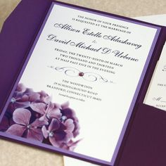 Purple Hydrangea Wedding Invitation Sample by willowglenstationery Botanical Wedding Invitations, Purple Wedding Invitations, Wedding Invitation Samples, Floral Invitation, Invitation Cards, Invite, Wedding Pins, Wedding Cards, Our Wedding