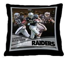 """Biggshots 12P3-108 Oakland Raiders Darren McFadden Toss Pillow, 18-Inch by Biggshots. $29.00. Crisp true life action imagery by Biggshots. Football fan pillow 18""""x18"""" featuring favorite NFL player. Official NFL and NFL player association license team bedding. 100 Percent polyester plush super select fiber filling and machine washable. Football room decor with NFL team colors. The Biggshots NFL player action sport toss pillow is officially licensed by the NFL and NFL player associ..."""