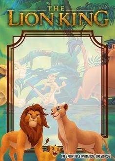 Carnival Birthday Invitations, Free Printable Birthday Invitations, Disney Invitations, Lion Birthday Party, Lion King Birthday, Lion King Theme, Lion King Party, Le Roi Lion Disney, Disney Lion King