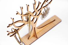 """Large sized Wooden Jewellery Display Tree 