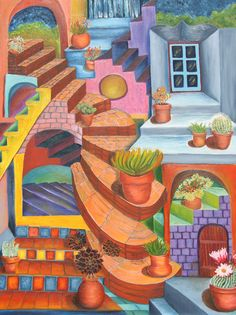 Watch your Step--oil on canvas, by Leslie Swartz