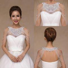 2015 Luxurious Crystal Rhinestone Jewelry Bridal Wraps White Lace Wedding Shawl Jacket Bolero Jacket Wedding Dress Beaded Bridal Winter Coat From Cc_bridal, $29.32   Dhgate.Com