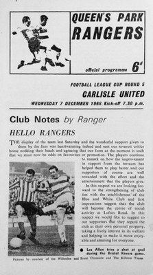 QPR 2 Carlisle Utd 1 in Dec 1966 at Loftus Road. The programme cover for the League Cup 5th Round tie.
