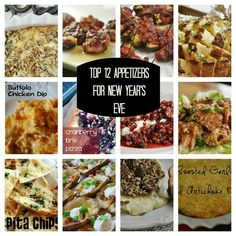 Top 12 Appetizers for New Year's Eve...things like BBQ Jalapeno Poppers, Buffalo Chicken Dip and lots more that sound amazing!
