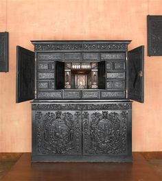 17th-century ebony cabinet. Collection of the Chateau d'Ecouen.