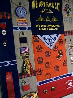 I can't wait to do this for my two boys.  Use shirts and extra material I bought.  Like the idea of the pockets on the back.  My Cub Scout's Memory Quilt