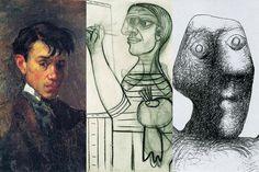 Autoritratti di Picasso a 18, 56 e 90 anni.