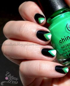 Chevron tips using Smoke and Ashes, In the Lime Light and Gaga for Green by Unhas a Trois