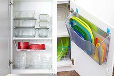 Como organizar potes plásticos nos armários da cozinha - Casinha Arrumada Diy Kitchen Storage, Kitchen Pantry, Closet Organization, Kitchen Organization, Corian Sink, Tupperware Storage, Napkin Folding, Home Hacks, Interiores Design