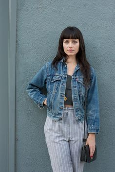 Street Style: Echo Park Craft Fair Name: Bethany McCartyJob: Makeup artist What She's Wearing: vintage Noriko pants, vintage Levi's jean jacket, Mexican bodega top, vintage coach purse, vintage boots.