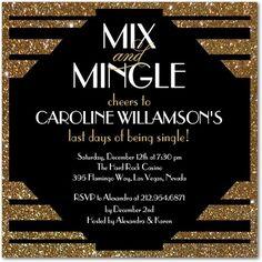 Signature White Bachelorette Party Invitations Mix and Mingle - Front : Black