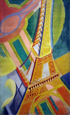 Perfectly Chaotic Robert Delaunay, Tour Eiffel, oil on canvas, 169 × 86 cm, Musée d'Art Moderne de la Ville de Paris From 1914 to 1920 Delaunay lived in Spain and Portugal and became friends. Sonia Delaunay, Robert Delaunay, Georges Braque, Harlem Renaissance, Art And Illustration, Paris Ville, Art Moderne, Art Design, Art History