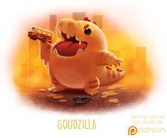 Daily Paint Goudzilla by Cryptid-Creations Cute Animal Drawings, Kawaii Drawings, Cute Drawings, Animal Puns, Funny Animals, Cute Animals, Animal Food, Cartoon Art, Cute Cartoon