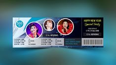 Party Event Ticket Design - Photoshop CC Tutorial Letterhead Template, Brochure Template, Flyer Template, Photoshop Design, Ticket Design, Cool Business Cards, Certificate Templates, Happy New Year, Event Tickets