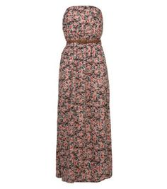 Petite Black and Red Ditsy Floral Belted Bandeau Maxi Dress