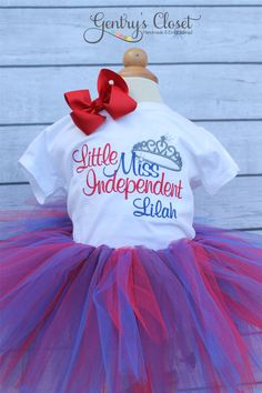 Little Miss Independent 4th of July tutu outfit with matching bow. Embroidered Patriotic shirt or onesie. July Fourth Outfit for baby girl.