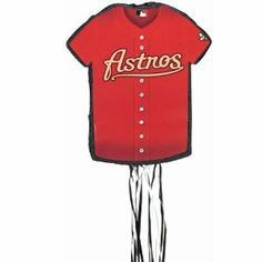 """Houston Astros Baseball - Shirt Shaped Pull-String Pinata Party Accessory BUYSEASONS. $17.99. It's pinata time.. Measures approximately 20 H x 17.5 W x 2.75 D.. Houston Astros Baseball Shirt Shaped Pull String Pinata features the official shirt logo of your. Kids can take turns or hold onto separate strings and pull together.. One special string will release all the treats inside.. Pull string pinata measures 20"""" high x 17.5"""" wide x 2.75"""" deep.. Save 59%!"""