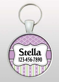 Pet Tag - Dog ID Tag - Girly Dog Tag - Purple Pet Tag - Dog Name Tag - Pet ID Tag - Gifts for Dogs - Gifts Under 10 - Design No. 283