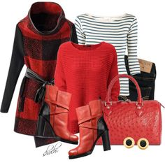 Red and Black Plaid by shuchiu on Polyvore featuring Edith A. Miller, Chicnova Fashion, Hollister Co., Brooks Brothers and COSTUME NATIONAL