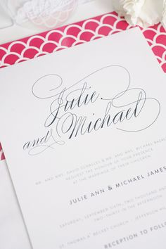 Preppy hot pink and navy wedding invitations | http://www.shineweddinginvitations.com/blog/elegant-hot-pink-and-navy-wedding-invitations/?preview=true