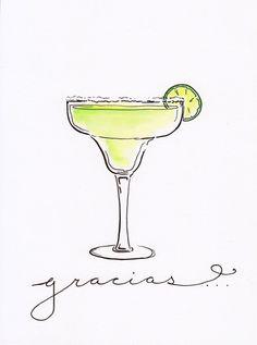 Margarita Cocktail Illustration Print by PaigeClarkPrints on Etsy