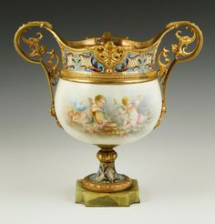 19th century French Sevres style champlevé bronze centerpiece