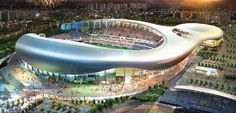 This is the Hwaseong Sports Complex for Hyundai/Samsung Consortium. Located in Hwaseong, Korea, and designed by DRDS in collaboration with Junglim, DMP, Haengli Soccer Stadium, Football Stadiums, Futuristic Architecture, Architecture Details, Stadium Architecture, World Cup 2022, Airport Design, Sports Complex, Architect Design