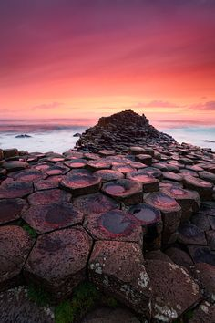 A sunset to remember at Giant's Causeway in Northern Ireland