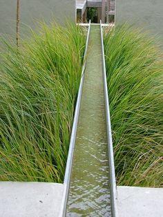 Garden Design Ideas : water feature/runnel between grasses… Pool Water Features, Water Features In The Garden, Garden Landscape Design, Landscape Architecture, Contemporary Garden, Modern Landscaping, Water Garden, Dream Garden, Jacuzzi