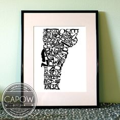 Vermont  typography map art print 16x20  customizable by CAPow, $50.00