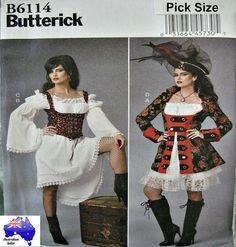 Free Post BUTTERICK SEWING PATTERN Ladies Gypsy Corset Pirate Costume 6114 #Butterick