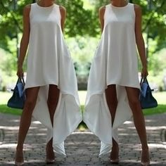 Stylish Round Collar Sleeveless Solid Color Asymmetrical Dress For Women