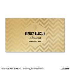 Fashion Artist Elite | Ornate, Chevron Business Card #gold #businesscard #chevronprint #fashiondesigner #fashionista #womensfashion #fashionshow #runwaymodel