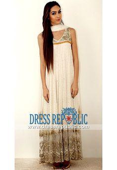 Off-white Sweet-heart Neck Embellished Long Shirt Pakistani Party wear Dresses Online by Zara