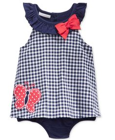 First Impressions Baby Girls' Gingham Butterfly Sunsuit, Only at Macy's
