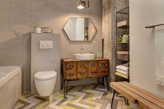 """Você queria morar em um loft como os de Nova York, mas seu apê tem uma arquitetura """"comum""""? Sem problemas, transforme o seu banheiro com um..."""