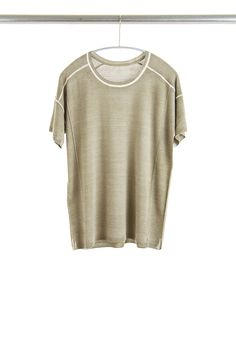 S98CS Square Tee, Olive, Cashmere/Silk with Push-through Print | Paychi Guh