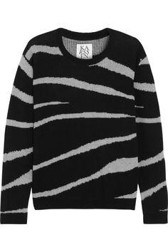 Zoe Karssen|Zebra-striped cashmere sweater|NET-A-PORTER.COM