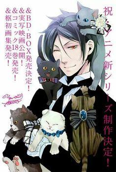 Black butler - Sebastian and his cats :3