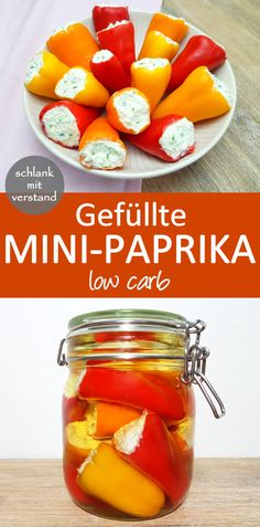 Filled mini peppers with low carb Feta cream cheese filling - Filled mini paprika low carb recipe Delicious antipasti – Perfect for losing weight as part of a - Cheese Recipes, Low Carb Recipes, Soup Recipes, Healthy Recipes, Keto Foods, Keto Snacks, Paleo Diet, Healthy Snacks, Feta