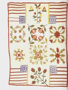 Quilt Sampler by Dorothea Klein Lemley, Sheboygan, Wisconsin, blocks possibly assembled later, from my book Civil War Women. Old Quilts, Antique Quilts, Vintage Quilts, Crib Quilts, Primitive Quilts, Flag Quilt, Patriotic Quilts, Quilt Blocks, Civil War Quilts